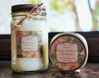 Coconut Lime Verbana Pure Soy Candle //Large Pint 16 oz.// Half Pint 8 oz candle/Mason Jar Candle/Hand Poured//Tropical Candle//Summer Scent