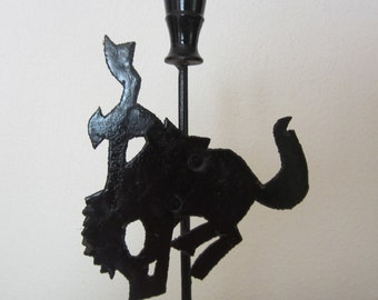 Cowboy Candle Holder Candleholder Black Metal Bronc Rider Rodeo Western Decor Candlestick