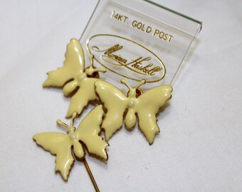 Vintage Miriam Haskell Butterfly Enamel Earrings and Stick Pin Creamy Pale Yellow