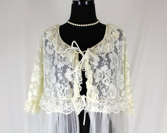Vintage Ethereal Peignoir Antique White Lace and Chiffon Medium