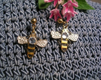 Sparkling Honey Bee Earrings. Hand Painted. Jewel Body.