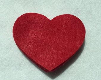 "100 red felt hearts.....3"" x 2"""