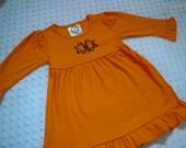 Monogrammed Fall Dress - Orange and Brown Halloween Thanksgiving Baby Toddler Dress  - Fall Thanksgiving Baby Girl Toddler Girl Thanksgiving