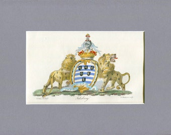 Heraldry - Salisbury Coat of Arms - English Lions - Professionally Hand Painted Half page Copperplate Engraving - 1790 - Armorial Engraving