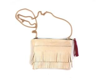 leather crossbody bag, fringe crossbody bag, leather fringe bag, chain strap purse, fringe shoulder bag, leather shoulder bag, the Bo bag