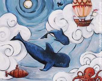 PRINT- Pilot whale mom and baby whimsical