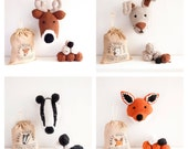 PDF Pattern - Forest Friends Collection - Fox, Deer, Hare and Badger Trophy Heads
