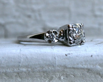 Classic Vintage 14K White Gold Diamond Three Stone Engagement Ring.