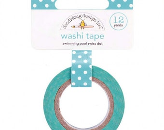 Swimming Pool Blue Swiss Dots Washi Tape, 15mm x 12 yards by Doodlebug Designs