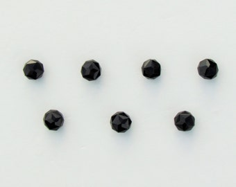 Antique faceted black glass buttons, set of 7 Victorian black glass dress buttons