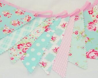 Shabby Chic Bunting Banner - Wedding Bunting, Birthday Bunting, Baby Shower Bunting - Soft Pink and Aqua Blue