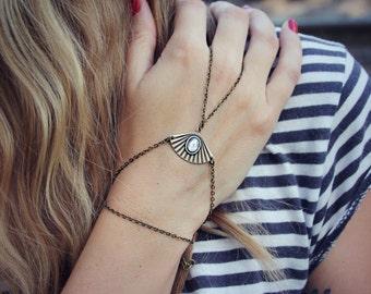 sapphire slave bracelet, ornate slave bracelet, ring bracelet, slave ring, unique bracelet, sapphire ring, hand chain