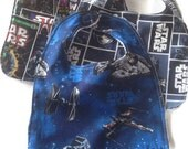 SALE! Star Wars Baby bibs,  Terry cloth backed baby bibs, set of 3 in Star Wars prints, Millennium Falcon, R2-D2, C3Po, Darth Vader, Obiwan