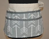 Utility Apron,  Teacher Apron, Women's Vendor Apron, Carpenter Apron, Money apron, Gray Arrow apron.  Ready to ship