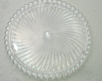 Vintage Large Clear Pressed Glass Cake Plate with Scalloped Edge
