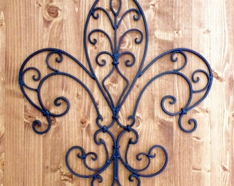 Fleur de lis Wall Decor Rustic Distressed Cast Iron (YOUR COLOR CHOICE)