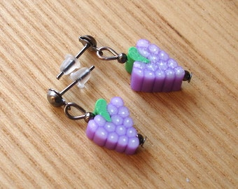 Juicy Grapes Bead Stud Earrings Jewellery