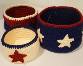 DOWNLOAD TODAY Americana Nesting Baskets/Bowls Crochet Pattern