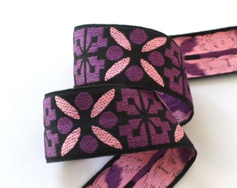 "Ribbon  2"" x approx. 2 yards  - Black, Pink and Purple Vintage Woven Ribbon - Woodstock Era"