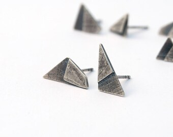 Chips earrings no 14 - sterling silver geometry mismatched post earrings with sharp angles