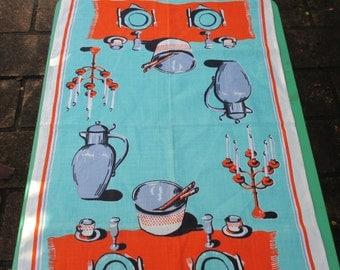1970s Vintage Australian Tea Towel Dinner Setting, Vintage Tea Towel 1970s