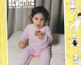 1980s Sewing Pattern - BevKnits 8006 Infants, Babies Wear  Size 6 months to 18 months Factory folded and complete