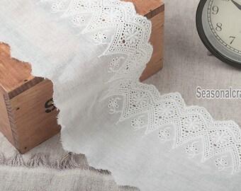 2 Yards Lace Trims 10cm Width,Embroidery,Vintage Style,White Color,Floral,European Royal Texture,Cotton(DL54)