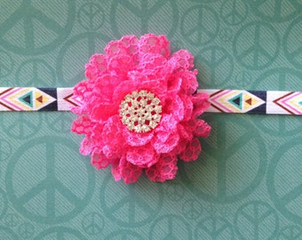 Hot Pink Flower with Rhinestone Center on Multicolored Aztec Headband