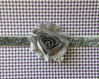 Silver Shabby Flower on Silver Glitter Headband