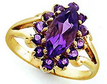 Amethyst Ring, Vintage Amethyst Marquise Cut, Womens Amethyst Ring, 9ct 9k Solid Gold, Avail in 14k 18k Rose White Gold, Custom R137