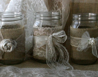 VINTAGE Lace candle jars for weddings, Burlap and vintage lace flowers or candle jar