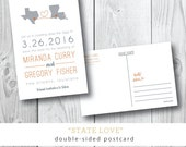 Heidi Postcard Save the Date / Two States Printed Card by Darby Cards
