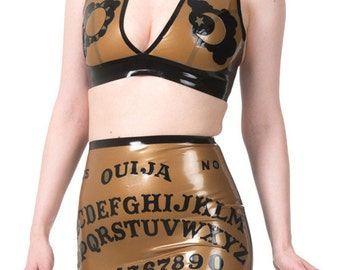 Ouija Board Latex Skirt and Halter Set