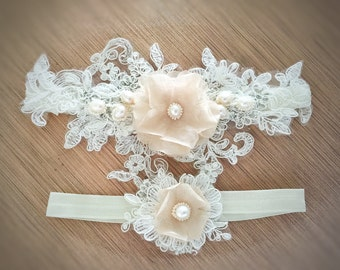 Wedding Garter Set - Blush Garter Set for bride - Lace Wedding Garter #320