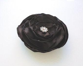 Flower Hair Clip - Flower Brooch - Dark Brown Flower - Upcycled Recycled Brown Satin Singed Flower Pin - Women Hair Accessory - Wedding
