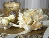 Blush Rose Corsage or Boutonniere  Beige and Ivory SILK Hydrangea