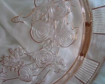 Vintage Pink glass cake plate