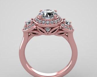 Rose gold moissanite diamonds engagement ring, 111RGDM