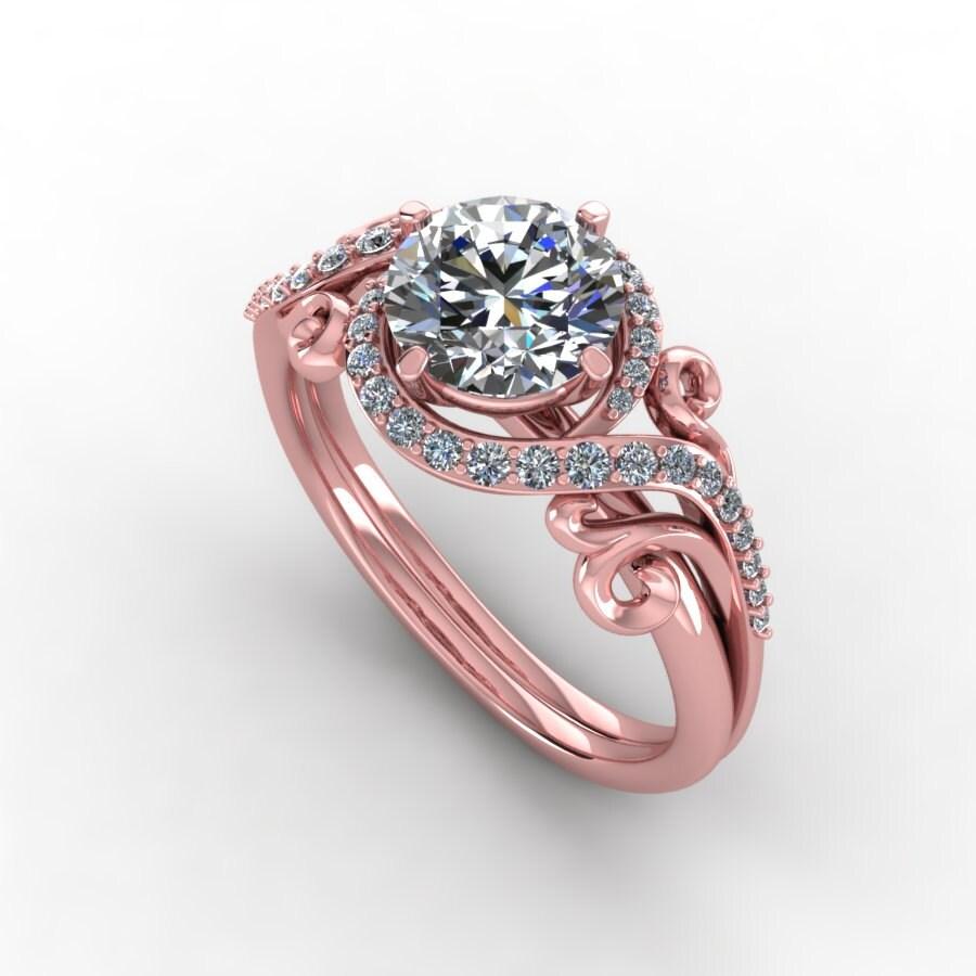 Rose gold moissanite engagement ringmoissanite diamond