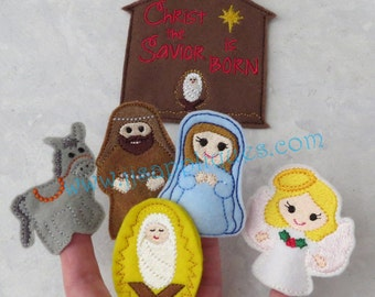 ITH Nativity Finger Puppet Set with Carry Case Digital Embroidery Designs - Instant Download