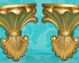 2 Home Interiors Homco Elegant Hollywood Regency GOLD Vintage Wall Home Decor Wall Pockets Planters