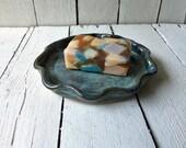 Soap Dish Ceramic, Sponge Holder, Wheel Thrown Pottery. Glazed in Mediterranean Blue.