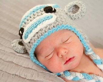Children's Sock Monkey Earflap Crochet Hat Newborn Photo Prop Pick Your Color