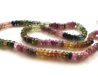 """Multi Tourmaline Faceted 3-4.5mm Rondell - 14.5"""" Strand"""