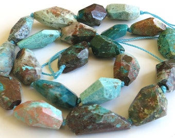 """Chrysocolla Faceted Nugget Beads ~ 16"""" Strand"""