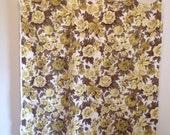 Vintage Fabric, Vintage Brown and Yellow Floral Fabric, Joanna Floribunda Vintage Screen Print