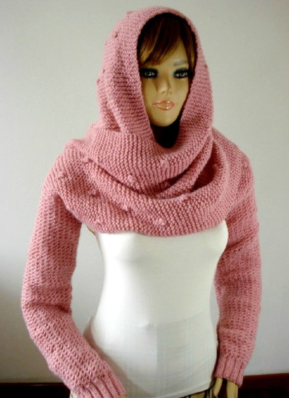 Knitting Pattern Scarf With Sleeves : KNITTING PATTERN Hood Scarf - Celine Hooded Scarf with long Sleeves - Cowl Pa...