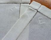 Vintage Linen Runners Pair 2 Handmade Linen Dresser Scarf Monogram E