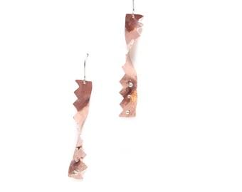 Zig Zag Earrings - Copper Zig Zags - Chevron Earrings - Twist Earrings - Silver Dot Earrings - Long Copper Earrings - Fun Earrings - Unique