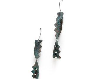Blue White Dot Earrings - Blue Copper Silver Earrings - Zig Zag Dangles - Spike Edge Earrings - Tribal Style - Boho Earrings - Bohemian